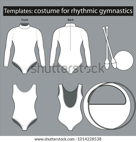 Costume template for rhythmic gymnastics for providing different color solutions