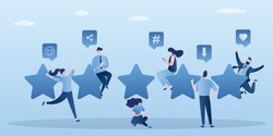 Costumer review rating concept. Five star rank and happy people clients give review and feedback with smartphone. Various characters use mobile phones. Trendy vector illustration
