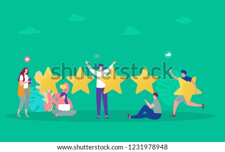Costumer review rating vector illustration concept, people give review rating and feedback with smartphone , can use for, landing page, template, ui, web, mobile app, poster, banner, flyer, background