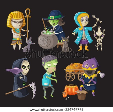 Costumes and traditional halloween characters
