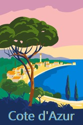 Cote d Azur of France Travel poster retro old city Mediterranean sea vacation Europe. Holiday summer voyage seaside sunset. Vintage style vector illustration