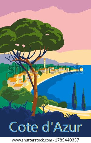 Cote d Azur of France Travel poster retro old city Mediterranean sea vacation Europe. Holiday summer voyage seaside sunset. Vintage style vector illustration Stockfoto ©