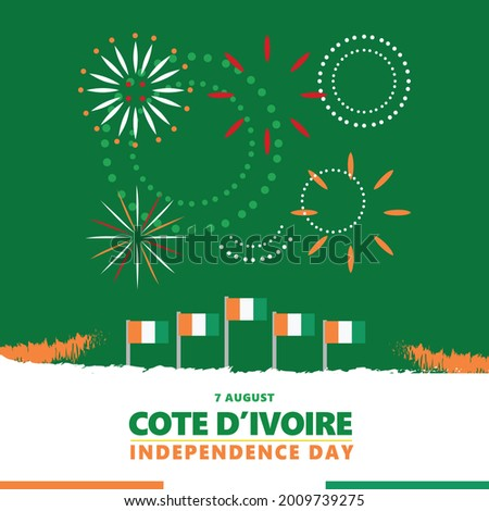 Cote d'Ivoire independence day celebration with the green theme, its national flags, and fireworks. African country national day vector illustration. Photo stock ©
