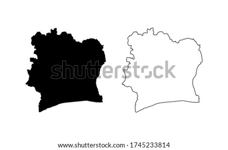 Cote d'Ivoire map silhouette line country Africa map illustration vector outline African isolated on white background  Photo stock ©
