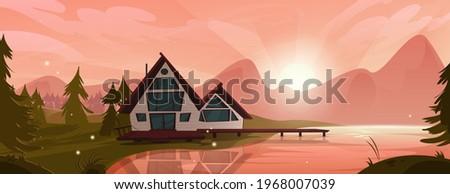 cottage at mountain lake in