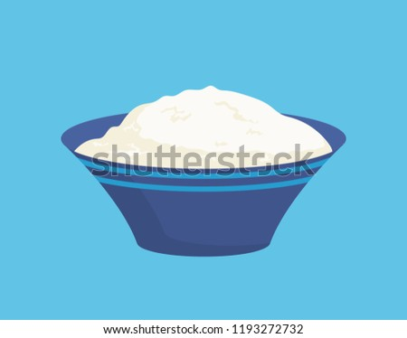 Cottage cheese in bowl isolated icon vector. Closeup of curd in plate, portion full of proteins and vitamins. Homemade domestic dish made of milk