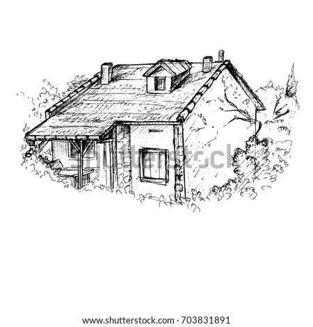 cottage drawing   cute house in