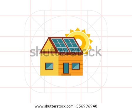 cottage house with solar panels