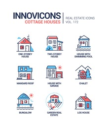 Cottage houses modern line design style icons set. Town, suburban architecture, real estate idea. A collection of buildings with swimming pool, mansard roof, garage, garden. Chalet, bungalow types