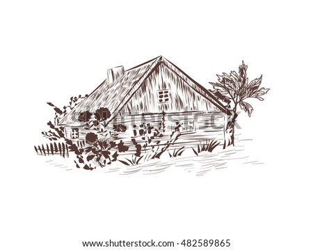 cottage in the village sketch....