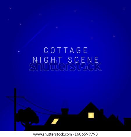 cottage night scene inside lit