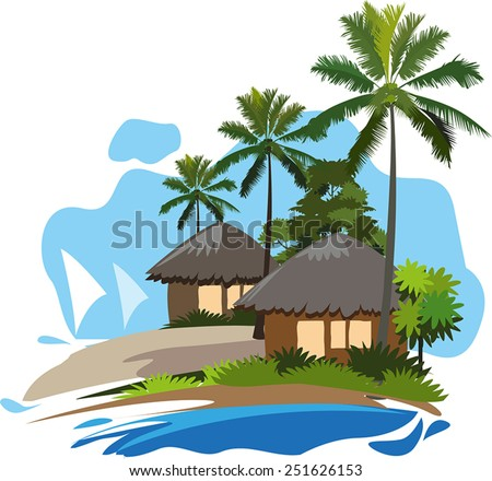 Cottage On The Coast Stock Vectors