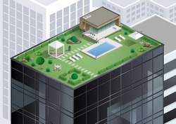 Cottage or bungalow, apartment with a pool on the roof of a skyscraper in the city. Alternative of agriculture. Vector graphics