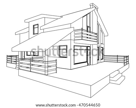 cottage perspective 3d drawing