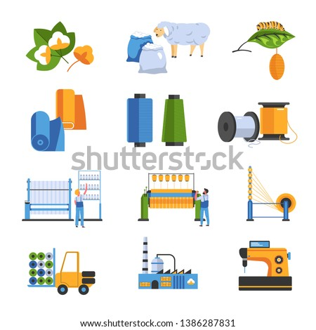 Cotton and wool or silk textile factory isolated icons vector field flowers silkworm and sheep fur fabric and threads industrial machine car and plant building mass production and sewing machine