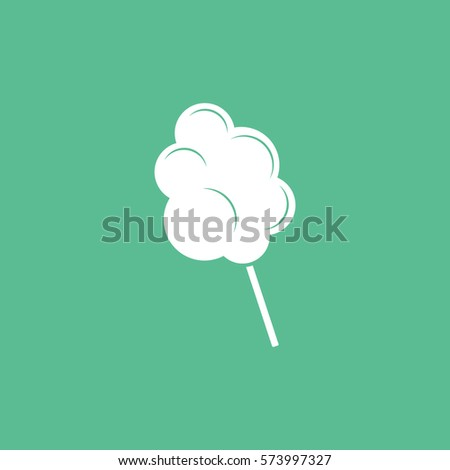 Cotton Candy Flat Icon On Green Background