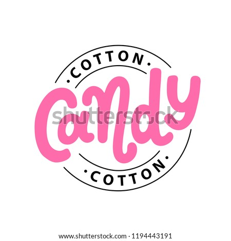 Cotton candy on stick. Text logo lettering for sweet cotton candy dessert for kids. Hand drawn vector illustration for your design. Print poster, flyers, stickers, tee, shirt. Pink color.