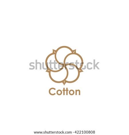 Cotton flower symbol - vector illustration
