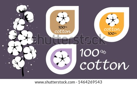 Cotton logos, icons, labels, stickers and emblems. Clothing decorative elements.  Cotton isolated on background. Drawn Vector illustration of cotton flower branch