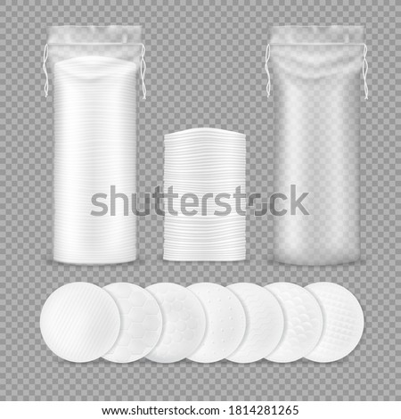 Cotton pads realistic mockup with vector isolated makeup remover round sponges and transparent plastic drawstring bags, 3d cotton discs with different textures for cosmetics, medicine and hygiene
