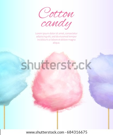 cotton sweet candies on stick