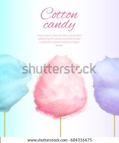 cotton sweet candies on stick