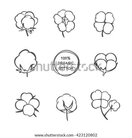 Cotton vector icons. Black cotton labels, stickers, illustrations