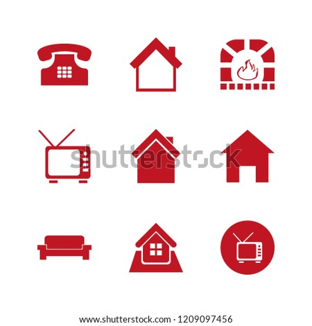 couch icon. couch vector icons set fireplace, sofa, home and tv