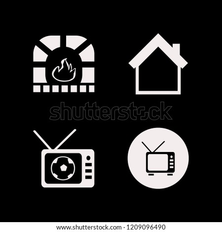 couch icon. couch vector icons set fireplace, tv, home and football tv match