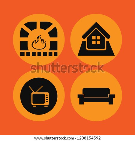 couch icon. couch vector icons set sofa, home, tv and fireplace