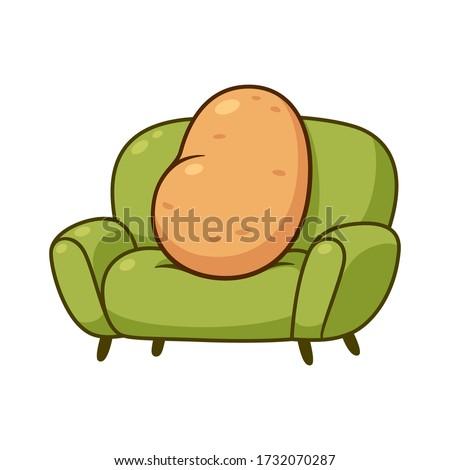 Couch potato, funny metaphor. Cartoon lazy potato sitting on sofa, vector clip art illustration. Сток-фото ©