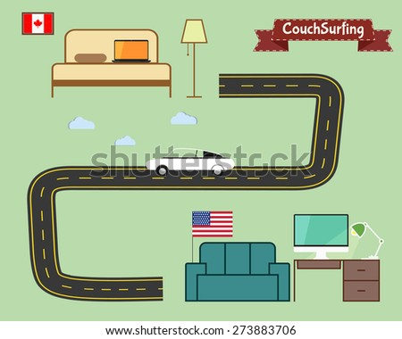 couch surfing concept travel