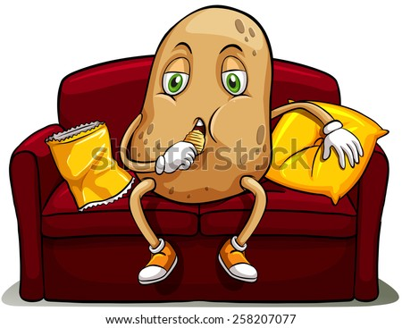 Couched potato on a red sofa eating on a white background Сток-фото ©
