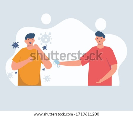 Cough elbow vector Graphic or sneeze with your elbow vector Coronavirus COVID-19 prevention using mask while sneezing or coughing