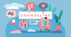 Counseling vector illustration. Flat tiny psychological specialty persons concept. Supervision career development training with questions and answers. Psychotherapy mental stress treatment solution.