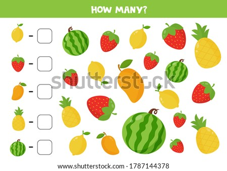 Count all fruits and berries. Educational math game for kids. Printable worksheet. Learning numbers. Funny activity page. Foto d'archivio ©