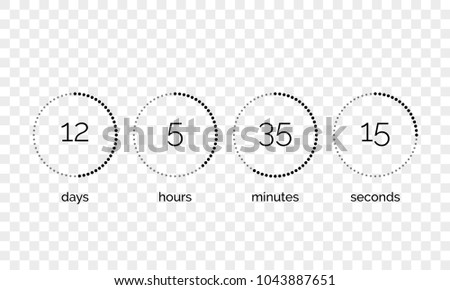Countdown clock counter timer. Vector digital count down circle board with circle time pie diagram on transparent background. Scoreboard of day, hour, minutes and seconds for web page template design.