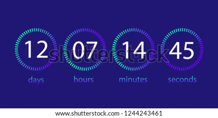 Countdown clock. Scoreboard of the day, hour, minute, second. User interface. Foto stock ©