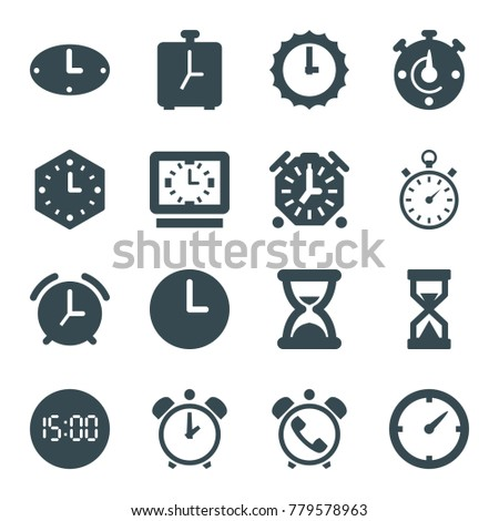 Countdown icons. set of 16 editable filled countdown icons such as clock, stopwatch, wall clock, sundial, hourglass, digital clock