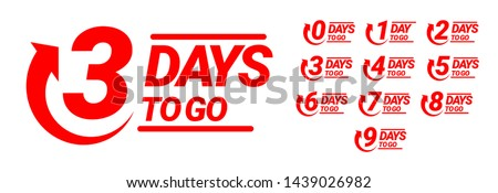 Countdown left days banner. count time sale. Nine, eight, seven, six, five, four, three, two, one, zero days left. Vector illustration