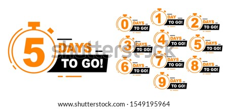 Countdown left days banner. count time sale. Nine, eight, seven, six, five, four, three, two, one, zero days left. Vector illustration. EPS 10