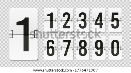 Countdown scoreboard numbers. Score vector realistic timetable. Mechanical retro airport flipboard. Clicker mockup