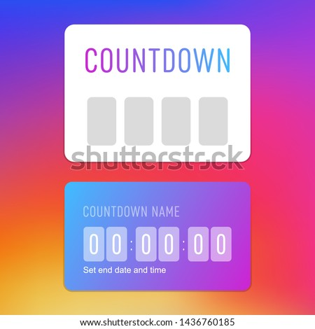 Countdown timer social media instagram sticker, template icon, user interface button stories social media design, vector illustration