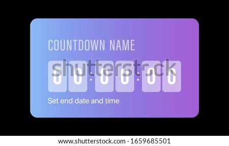 Countdown Timer Social Media Sticker On Black Background