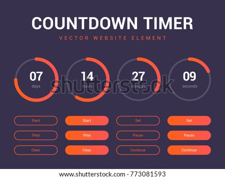 Countdown timer vector website element with buttons. Flat digital clock timer application template. Countdown timer for coming soon or under construction