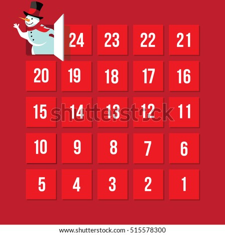 Countdown to Christmas Advent Calendar. Day 25. EPS 10 vector.