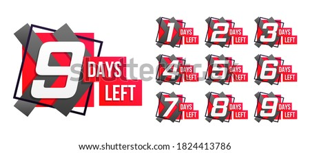 Countdown 1 to 10, days left label or emblem can be used for promotion, sale, landing page, template, ui, web, mobile app, poster, banner, flyer. Set of number time left countdown. Vector illustration