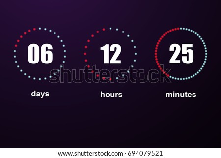 Countdown vector template digital clock timer background for coming soon.