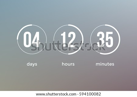 Countdown web site vector flat template digital clock timer background for coming soon or under construction design