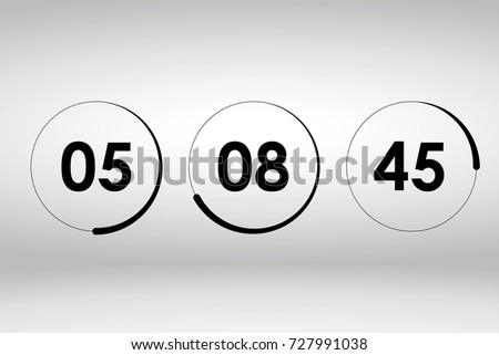 Countdown web site vector template digital clock timer
